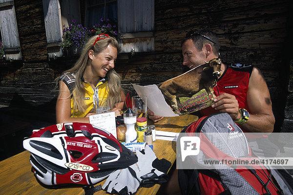 Mountainbiker  Arosa  Graubuenden  Switzerland