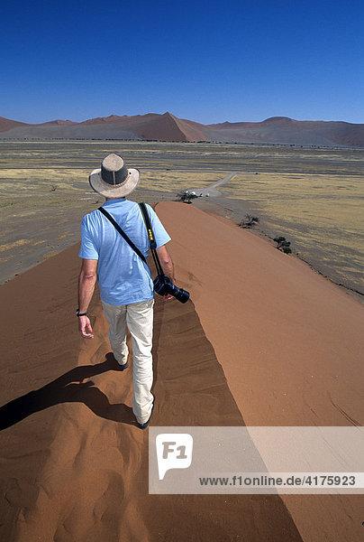 Trekking auf Sanddüne 49  Sossusvlei  Namib Naukluft Park  Namibia  Afrika