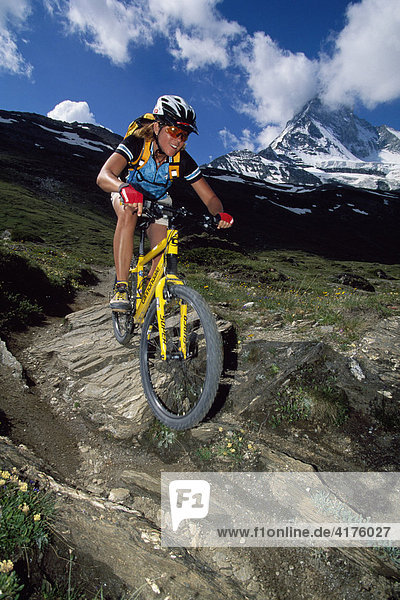 Mountain biker  the Matterhorn  Zermatt  Valais  Switzerland  Europe