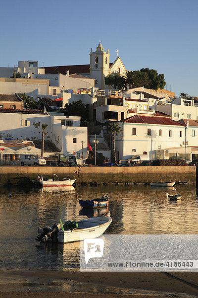 Ferragudo and Rio Arade in the evening light  Algarve  Portugal