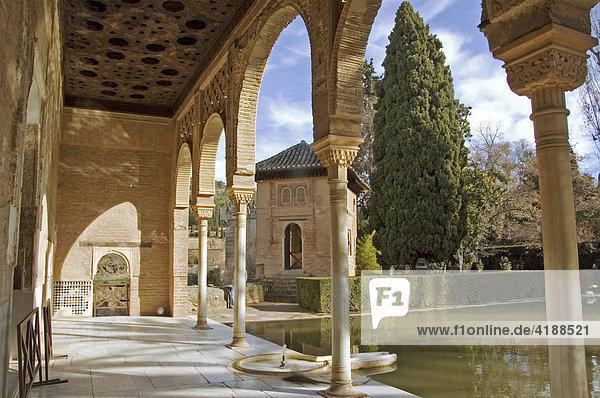 Die Erben der Mauren  kunstvolle Steinmetzarbeiten  Alhambra  Granada  Andalusien  Spanien