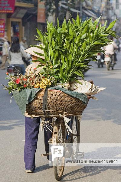 Strassenhändlerin in Hanoi  Vietnam  Asien