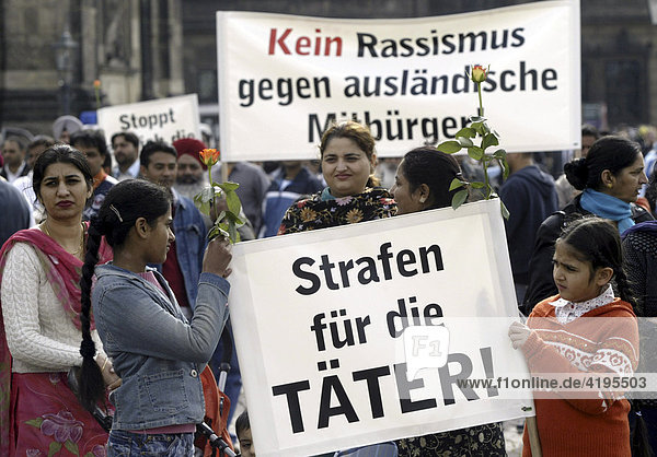 Protest of Indian People against fascism in Dresden Eastern Germany Saxony