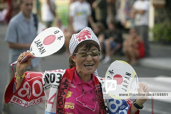 Die Delegation von Japan bei der Parade der Nationen vor der Ironman-Triathlon-WM in Kailua-Kona (Hawaii).