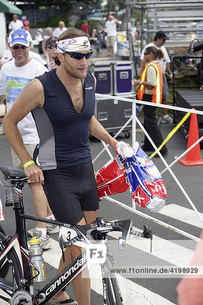 Triatlet Faris Al-Sultan disabled to start the Ireonman contest in Hawaii 2007  USA