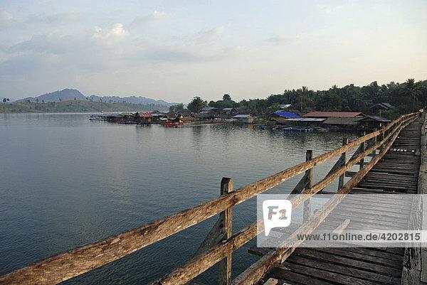 Uttamanusorn (Mon Bridge)  Sanklaburi to Waeng Khan  the longest wooden bridge in Thailand  Asia