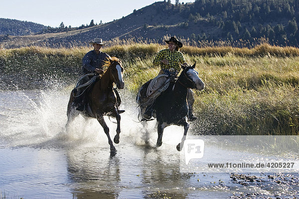 Cowgirl und Cowboy reiten durch Bach  Oregon  USA