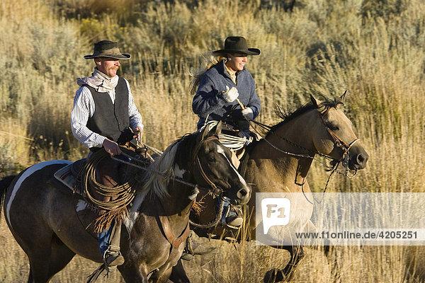 Cowgirl und Cowboy reiten  Oregon  USA