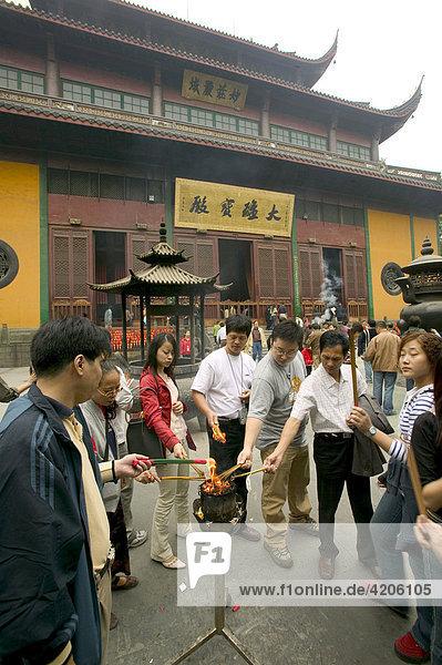 Lingyin Tempel  Hangzhou  Zhejiang  China  Asien