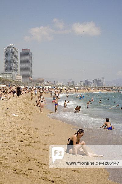 Platja de Bareloneta  Barcelona  Catalonia  Spain