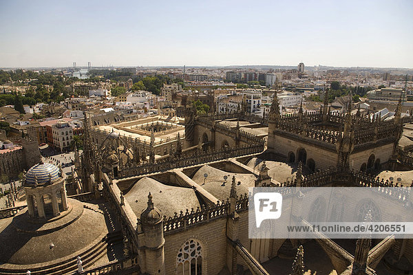 View of Seville's historic centre and Archivo de las Indias archives from the tower of Seville Cathedral  Seville  Andalusia  Spain  Europe
