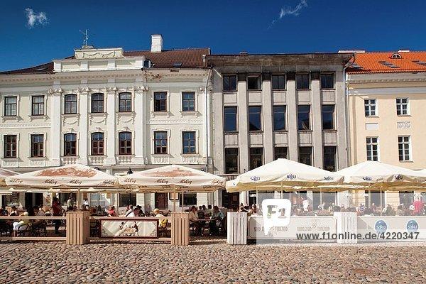 Estonia  Southeastern Estonia  Tartu  Raekoja Plats  Town Hall Square  buildings and cafes