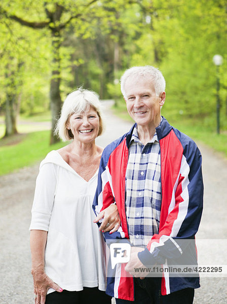 Happy senior citizens on a stroll