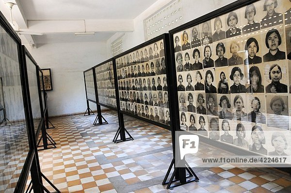 Pictures of prisoners in Tuol-Sleng-Genocide-Museum in Phnom Penh