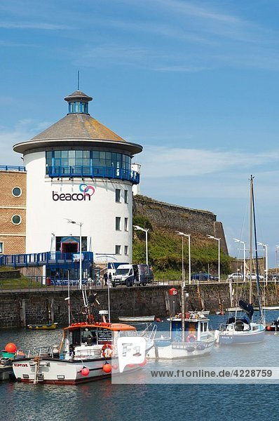 The Beacon at Whitehaven marina and harbour on the west coast of Cumbria   England   Great britain   Uk