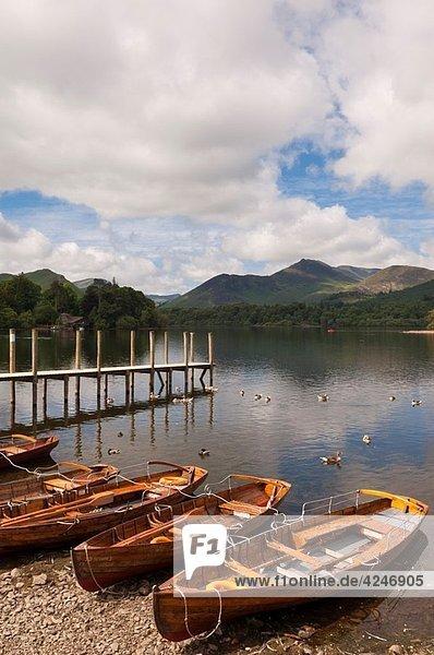 Boats at Derwent water at Keswick   Lake District National Park   Cumbria   England   Great Britain   Uk