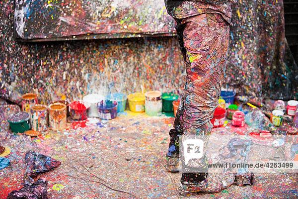 Künstler und Farbspritzer  San Telmo  Buenos Aires  Argentinien