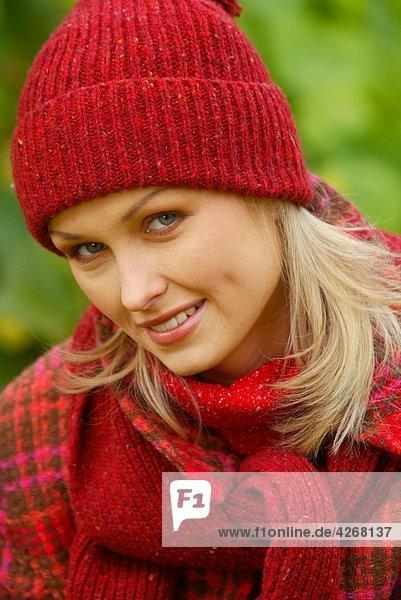 portrait of woman in autumn