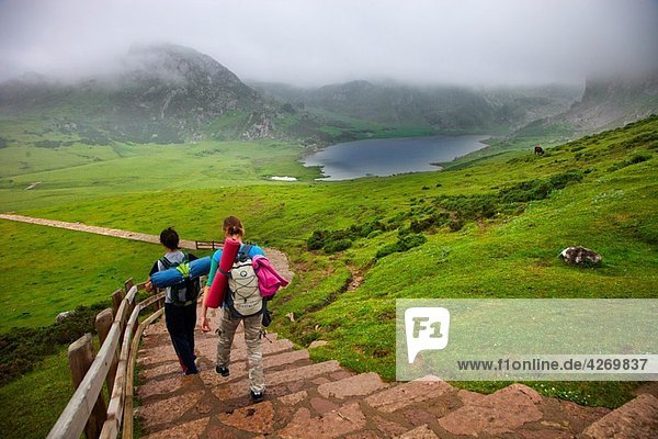 Mountaineers. Ercina Lake. Covadonga Lakes. Cangas de Onis. Council. Oriente region. Picos de Europa. Asturias. Spain