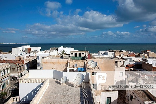 Tunisia  Tunisian Central Coast  Mahdia  elevated town view from the Skifa el-Khala city gate