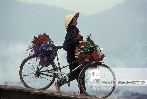 Vietnamesische Frau stossend bike