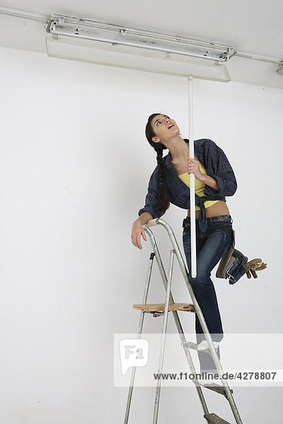 Woman Standing On Ladder