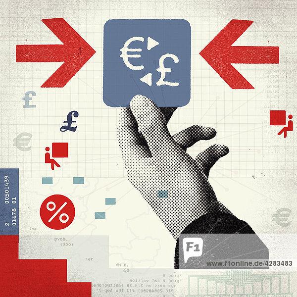 Große Hand hält Euro- und Pfundzeichen