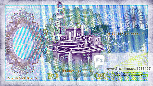 Blauer Geldschein mit Ölplattform