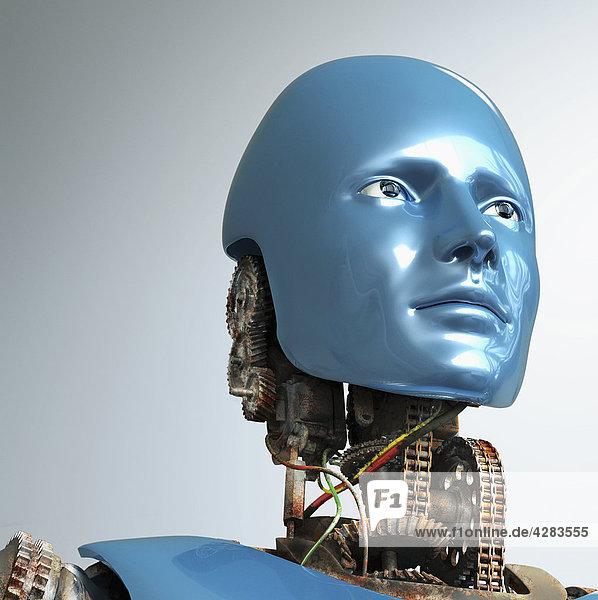 Roboter mit rostigen Zahnrädern und blauem Gesicht