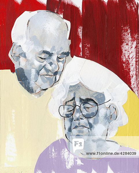 Alter Mann schaut auf seine traurige Frau