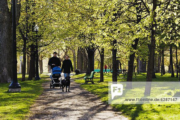 Paar zu Fuß in Lafontaine Park  Montreal  Quebec