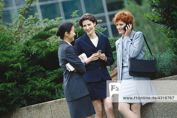 Geschäftsfrau im Büropark stehend  plaudernd