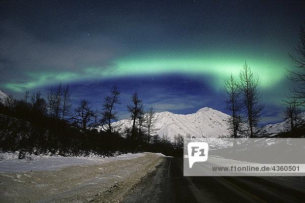 Northern Lights @ Hatcher Pass Road Talkeetna Mtns Alaska Winter SC
