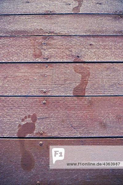 Vereinigte Staaten von Amerika USA Winter bedecken See Dock Fußabdruck Lake Whatcom Frost