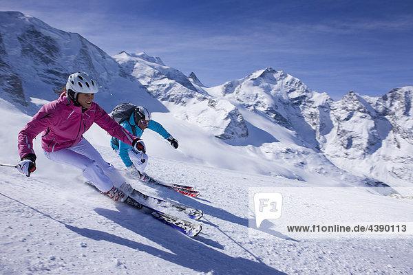 Diavolezza  GR  Berninagebiet  Wintersport  Berge  Ski  Skifahren  Carving  Carvingski  Carven  Kanton Graubünden  Bündnerland Kanton Graubünden