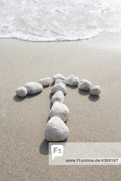 Pfeile steinerne  Richtung Strand