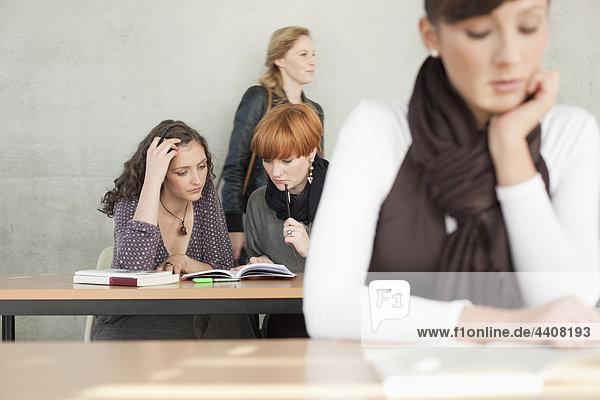 Deutschland  Leipzig  Studenten  die gemeinsam im Klassenzimmer studieren