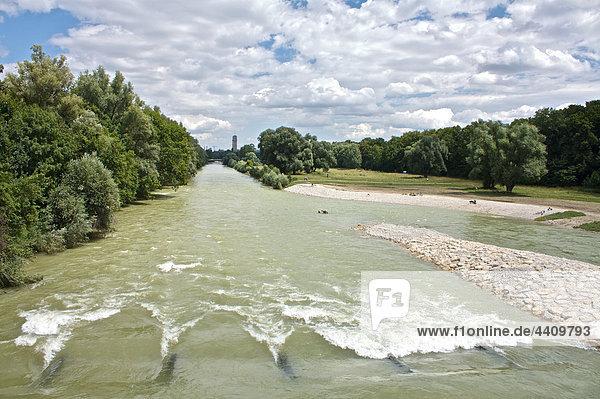 Deutschland  Bayern  München  Isar fließt durch Bäume