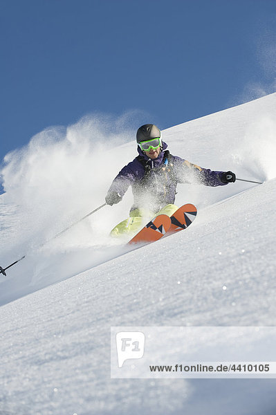 Austria  Man skiing on arlberg mountain