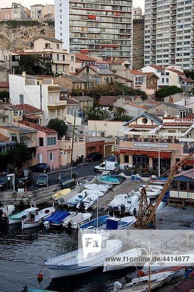 France  Provence Alpes Cote d´Azur province  Bouches du Rhone  Marseille - Boats in the port of ´Le Vallon des Auffes´ in Endoume