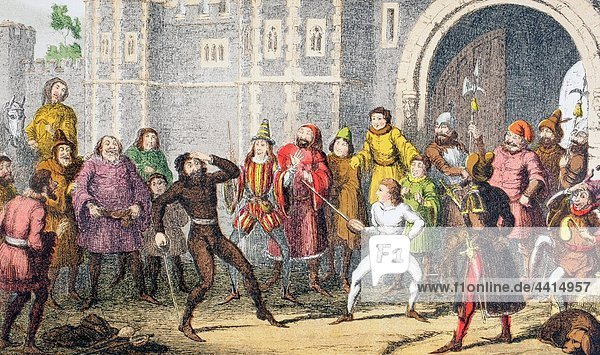 Shallow speaks in Henry IV  Part Two  Act III  Scene II  by William Shakespeare ´ The same Sir John  the very same I saw him break Skogan´s head at the court gate  when a´ was a crack not thus high ´ Drawn and etched by George Cruikshank From The Ill