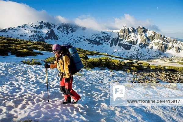 Woman practicing mountaineering in the Sierra de Béjar Natural Park  in Salamanca province  Biosphere Reserve of Sierra de Béjar and Francia