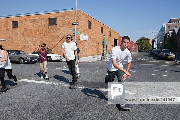 Skateboarder an urban street