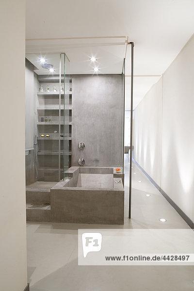 Glas geschlossen Badewanne grau modern sichtschutz