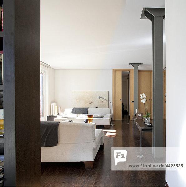 Farbaufnahme Farbe Zimmer Kiefer Pinus sylvestris Kiefern Föhren Pinie Ansicht Holzboden Wohnzimmer