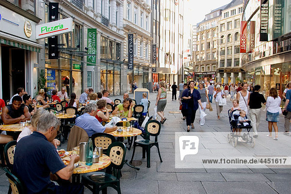 Germany  Hamburg. People at Poststrasse  a pedestrian street with many shops and restaurants in the Altstadt (old Town).