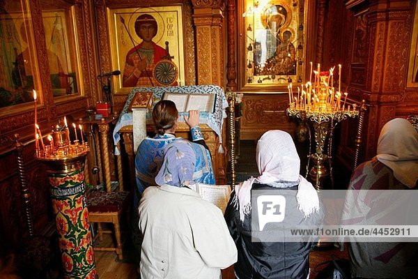 Sep 2008 - People worship inside the Chapel of the Iberian Virgin at the Resurrection Gate  Moscow  Russia