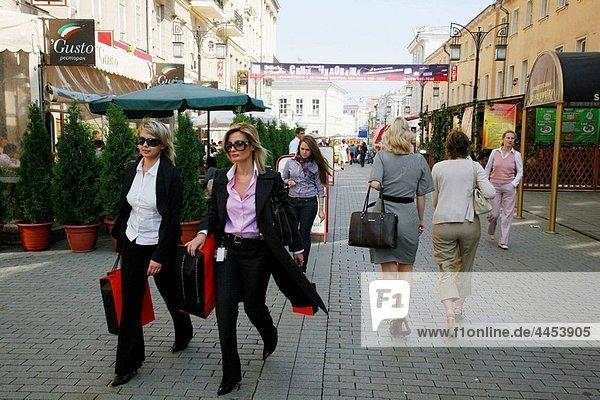 Sep 2008 - women walking Kamergersky pereulok Street next to Tverskaya Ulitsa street  Moscow  Russia