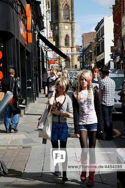 Young women walking at Bold street  Liverpool  England  UK
