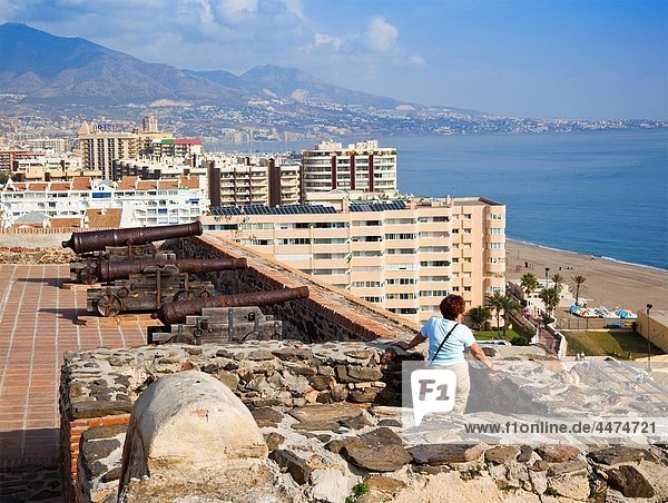 Fuengirola  Malaga Province  Costa del Sol  Spain View over Sohail castle to the city